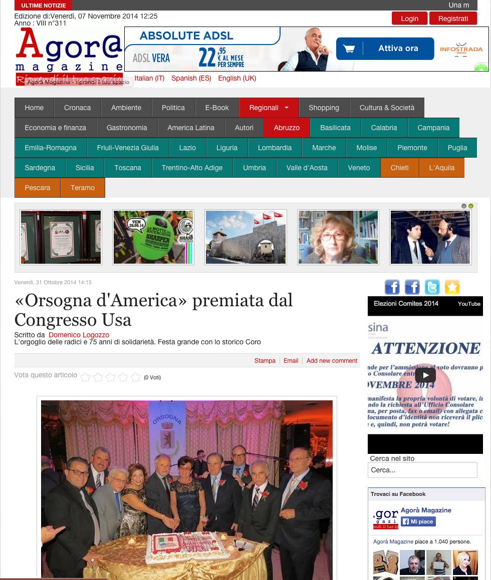 Agora Magazine articolo Coro La Figlia di Jorio